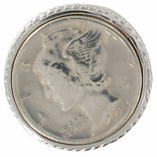 USA Coin Ring Sterling Silver 925 Mercury Dime 1945 Sz 4