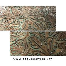 Embossed Leather Autumn Turquoise Brown, Custom Cuts Leather Sheets
