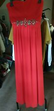 Ladies Red Jane Norman Full Length Evening Cocktail Prom Dress Size 12