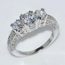 Three Stone Round Diamond Engagement Rings 10kt White Gold Milgrain D/VVS1 Ring