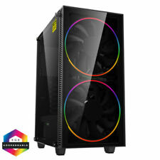 GameMax Black Hole Mid Tower Gaming Case with 2 200mm ARGB Ring Fans - Black