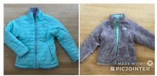 The North Face Girls Reversible Mossbud Swirl Jacket Size M 10/12 Teal Gray Euc