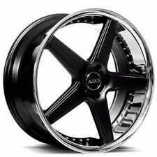 "(4Rims) 20"" Staggered Azad Wheels AZ008 Semi Gloss Black with Chrome Lip HotDeal"