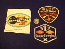 "3 VTG LADIES BOWLING PATCHES ""WIBC AWARD ALL SPARE GAME"" LEAGUE CHAMPION 1964-69"