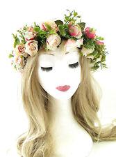 Zartrosatöne Creme Haarreif Mit Rosa Blume Haar-krone Fest Girlande Kranz Vtg