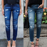 Women High Waist Slim Fit Pants Pleated Ripped Hold Jeans Stretch Denim Trousers