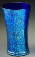 "LOETZ 1898 BOHEMIAN GLASS PAPILLON IRIDESCENT COBALT BLUE VASE 9.5"" (24.2cm)"