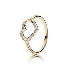NEW! Authentic Pandora 14K Gold Captured Heart Ring #150179CZ-54 (7) w/Box