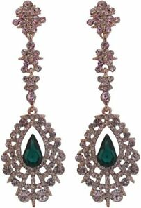 A Pair of Gold Diamante Crystal and Emerald Green Drop Earrings - Pierced Ears
