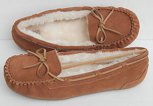 SO THETA sz 9 CHESTNUT GENUINE LEATHER SUEDE FUR LINING SLIPPERS NEW AUTHENTIC