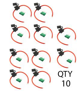 (10) True Spec 10 AWG Gauge ATC Inline Fuse Holder Fuseholder cover &(10) 30 Amp