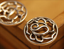 4x Metall Anhänger Charm Rosen Tibetsilber 22mm mb1341