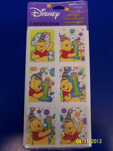 RARE Winnie the Pooh 1st Birthday General Kids Party Favor Scrapbook Stickers *