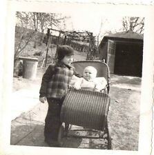 Old Vintage Antique Photograph Cute Little Baby in Wicker Carriage With Brother