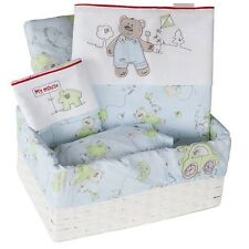 Brand New Bubba Blue Cute And Cuddly 6 Piece Cot Set Baby Gift Boxed Basket