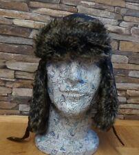 Failsworth Da Uomo Navy Cerato Trapper Cappello in pelliccia sintetica marrone in pelle scamosciata Trim Taglia S/M NUOVO
