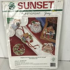 Sunset Plasticpoint Needlepoint Kit Christmas Ornament Jolly Jewelry Cynthia Lee