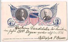 1900 William J. Bryan Adlai Stevenson Jugate Campaign Postcard Lost to McKinley