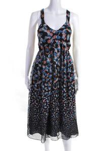 Lafayette 148 New York Womens Silk Printed Empire Waist Dress Black Size 14