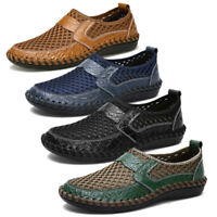 Men's Driving Slip on Loafers Leather Summer Breathable Mesh Casual Shoes