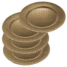 Set Of 4 Gold Crocodile Effect Christmas Charger Dinner CentrepieceTable Plates