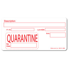 QUARANTINE, Quality Control White Matte Labels, Roll of 1,000 Stickers