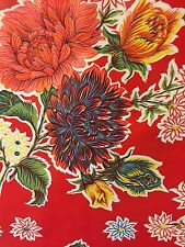 Oil Cloth YardageTablecloth Craft Fabric Red Mums MOST POPULAR