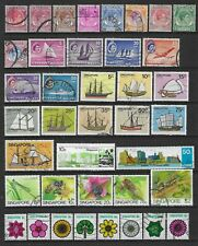 4 scans-Collection of mostly good used Singapore stamps.