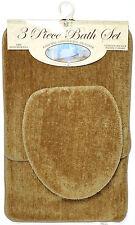 3 Piece Bath Rug Set Taupe Bathroom Mat Contour Rug Lid Cover Non Slip