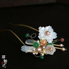 High Quality Chinese Classical Women Hairpin Hair Accessories White Shell Jade