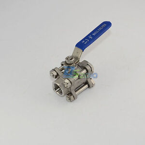 "1/2"" 3-Piece Full Port Ball Valve Threaded Stainless Steel 316 BSPT 1000WOG NEW"