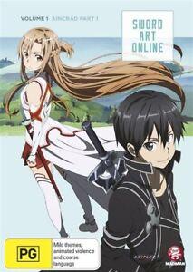 Sword Art Online - Aincrad : Vol 1 : Part 1 : Eps 1-7 (DVD, 2013)