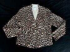 Chicos Leopard Animal Print Beige Black Sweater Size 1 Medium