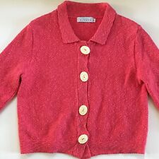 Willow Women's Cotton Knit Sweater 3/4 Sleeve Coral Cardigan