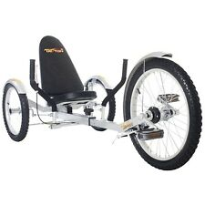 "Mobo TriTon 20"" 3 WHEEL Tricycle RECUMBENT Trike Bike Silver TRI-501S"