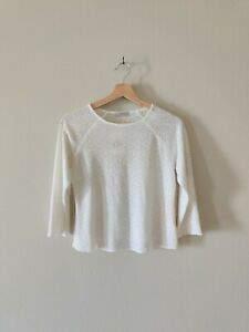 Fitigues Women's Top Vintage White Lace Pullover Size Small