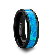 Black Ceramic Ring with Blue Green Opal Inlay 10 mm