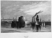 France LE HAVRE DOCKS PORT HARBOR SAILBOATS SHIPS ~ Old 1837 Art Print Engraving