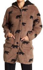 NWT PJ Salvage Cocoa Brown/BLACK BEARS LUXURY Plush Hoodie FURRY FLEECE Jacket S