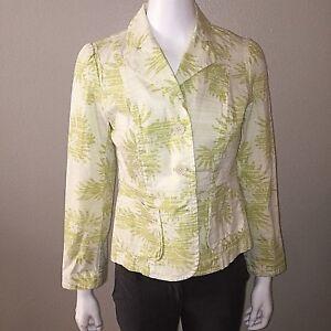 Loft Blazer Size 6P Petite Womens Stretch Lime Green Floral Jacket Ann Taylor