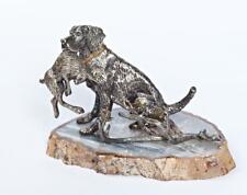 """Silver Visit cards holder """"Dog with hare"""""""