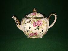 More details for vintage & rare sadler cube teapot ~ cream with pink roses & gold colour trim