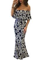 New black & white ornament print maxi dress party summer wear Size S UK 8-10