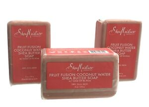 3 SHEA MOISTURE FRUIT FUSION & SHEA BUTTER SOAP FACE & BODY BAR 8 OZ EA