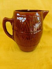 "Nelson McCOY Pottery BARREL TANKARD c. 1929 Brown Beer Pitcher over 8"" tall"