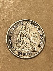 1863 Peru Silver Dinero VF+