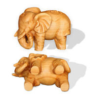 1PC Vintage Hand Carved Teak Wood Elephant Figurines Sculpture Home Ornament