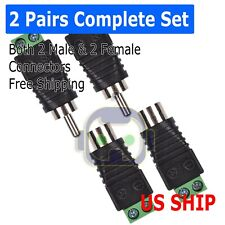 2 pairs Speaker cable to Audio Male + Female RCA Connector Adapter Jack B140