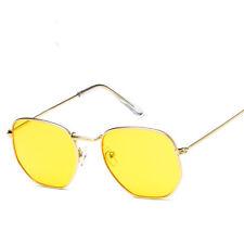 Sunglasses Women Polygon Clear Lens Men Vintage Plain Glasses Metal Frame
