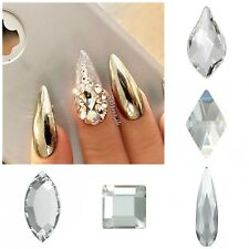 Swarovski x20 Mixed Shapes CLEAR GLUE ON Crystals Flame Raindrop Square Nail Art